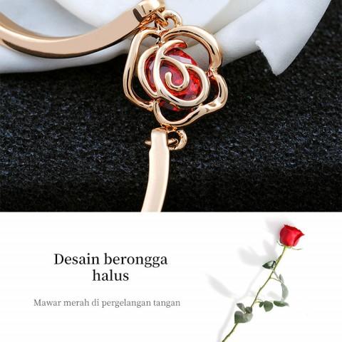 Gelang  mawar merah berlapis emas