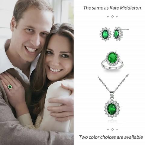 ada tiga warna pilihan dengan sertifikat perak sterling, Ratu Kate dengan kalung, anting, cincin 3in1 kotak