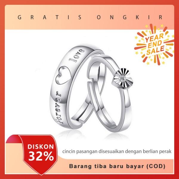 cincin pasangan disesuaikan dengan berlian perak